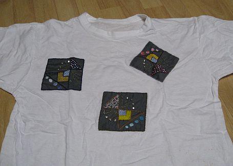 Tシャツに刺繍うのアップリケ