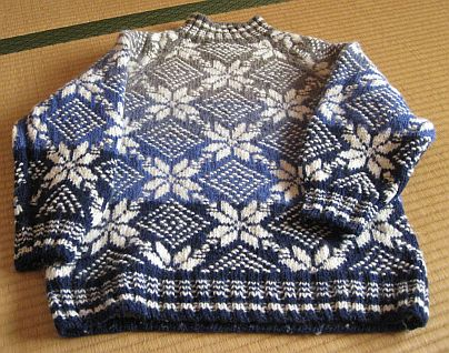 ブルーの編みこみセーター 2